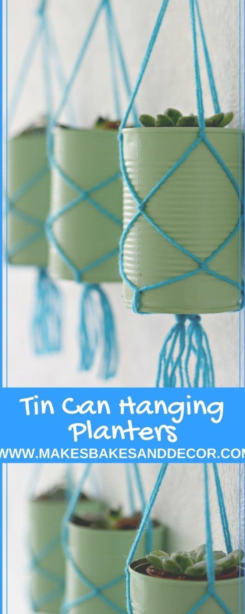 TIN CAN hanging planters are a fun DIY to upcycle your tin cans A great tin can craft for you to use around the home