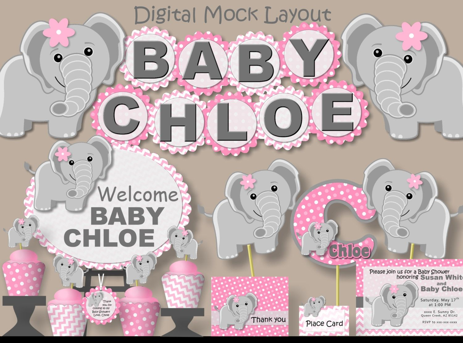 Elephant Baby Shower Decorations For Girl Pink girl ...