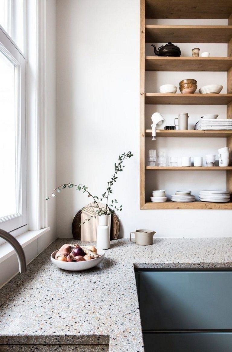 51 Lovely Kitchen Designs With A Touch Of Wood Wood Shelves
