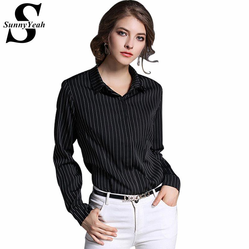 0b8f9b94807a0 SunnyYeah 2017 Blusas Femininas Vintage Stripe Long Sleeve Shirt Women  Chiffon Blouse Work Casual Plus Size Tops Blouses  Affiliate