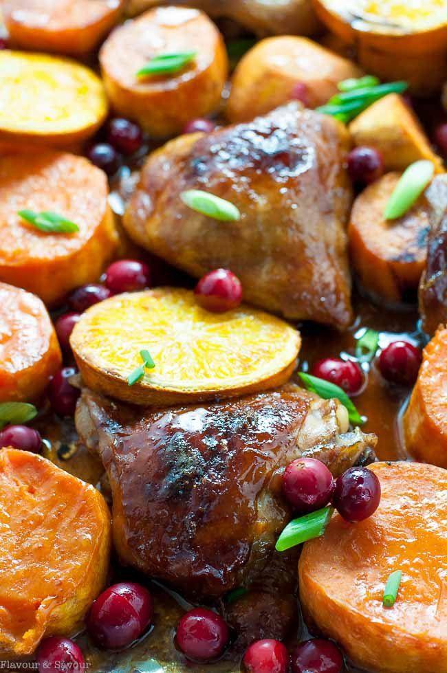 chicken orange pan sheet sweet hoisin potatoes potato dinner ginger sauce flavourandsavour cranberries