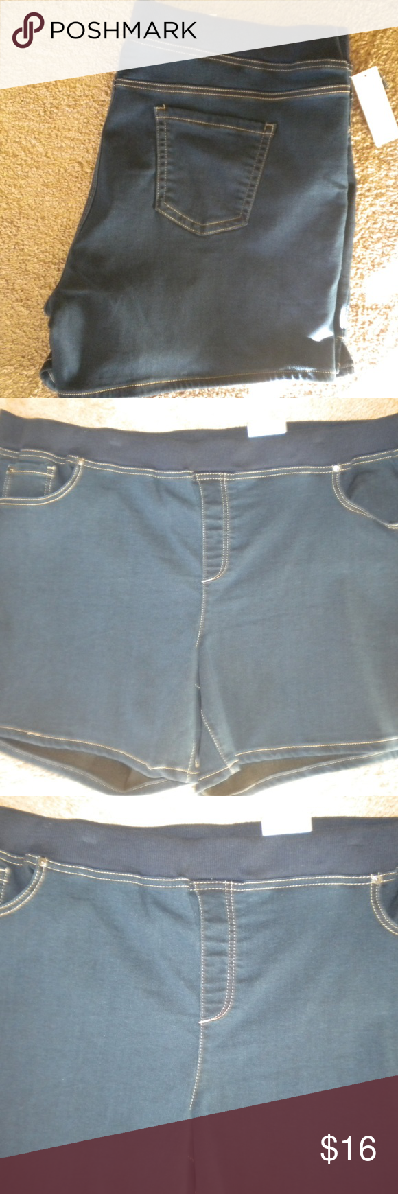 895be8ff003f8 Terra Sky Women Plus Size 20W 22W (2X) Jean Shorts. Elastic Waistband. Five  pockets. Dark wash. Stretch. Comfort Waist band. Pull On. Soft.