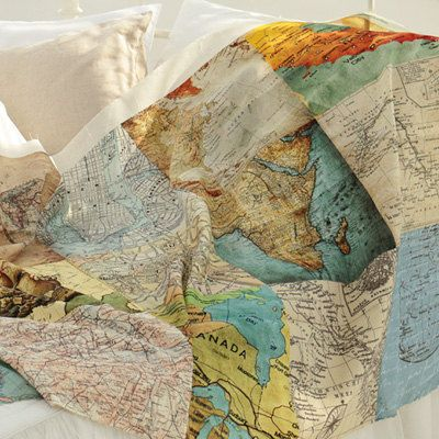 linen world map natural color quilting sewing by jamiesquilting 1850