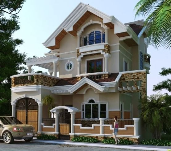 Two Storey House Two Storey Residential House With Attic Home Design Contemporary House Exterior Bungalow House Design Residential House