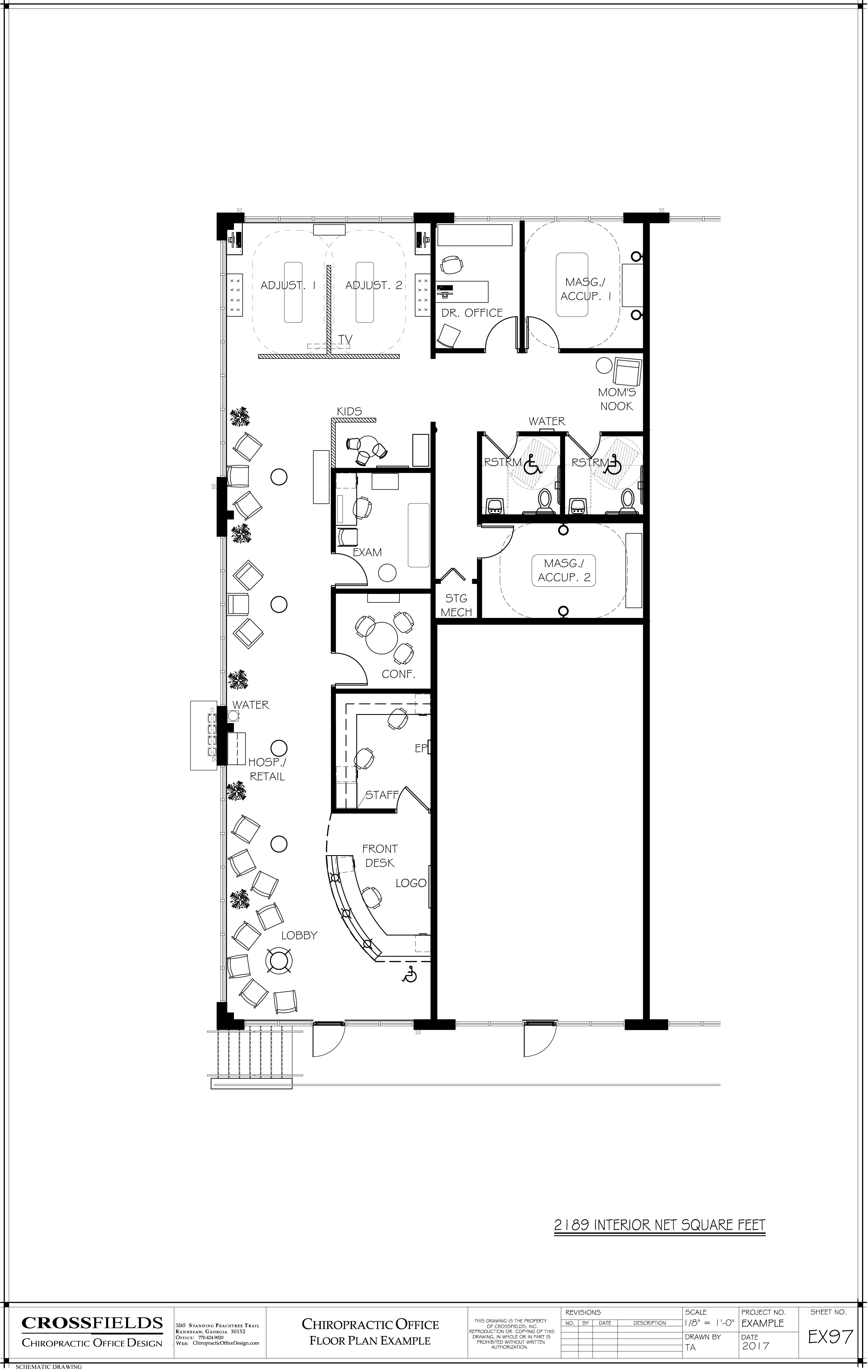 Superieur Layout Floor Plan Example Of A Chiropractic Office With A Semi Open  Adjusting Exam Conference Massage Acupuncture 2189 Interior Net Sq. Ft.