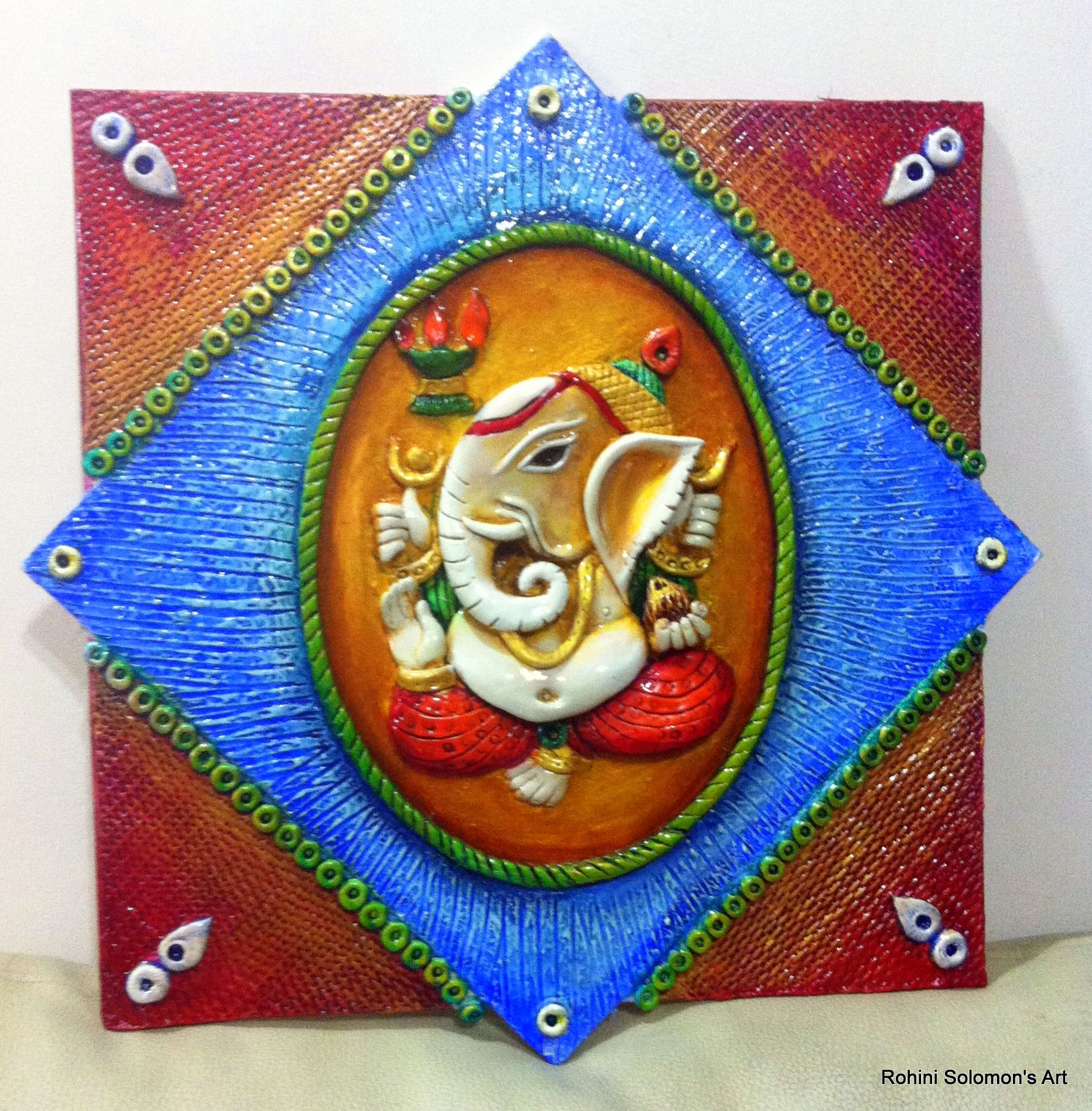 Ganesha mural clay murals and more by rohini solomon for Mural art of ganesha