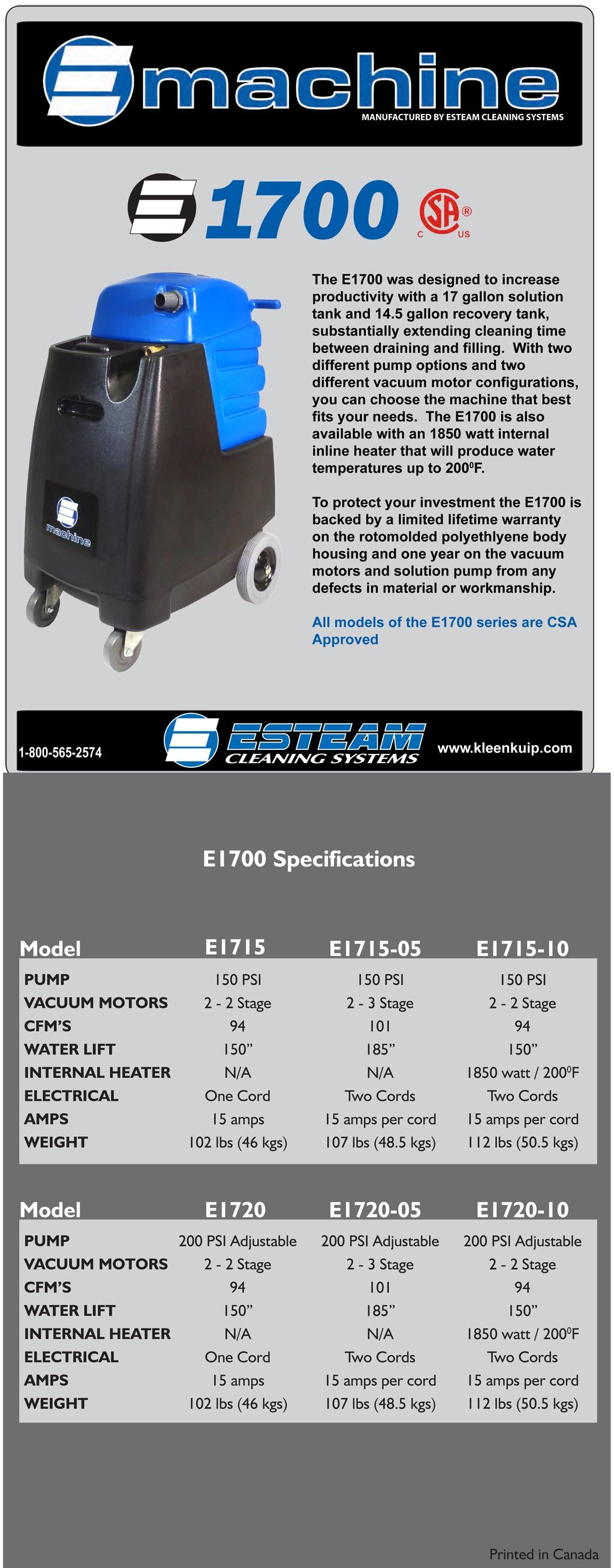 The E 1700 Was Developed To Increase Your Job Speed And Profitability Features Like Its 17 Gall Carpet Steam Cleaner Commercial Carpet Cleaners Clean Machine