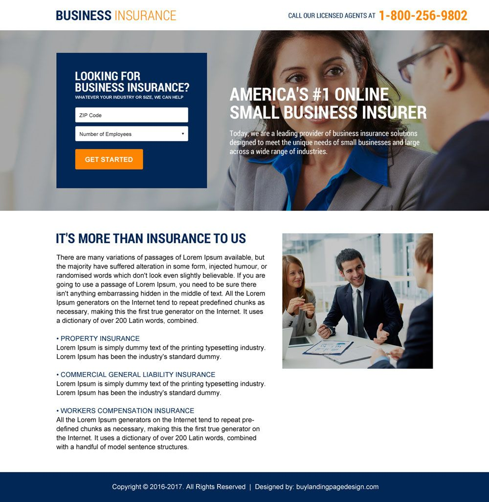 Download Small Business Insurance Landing Page Designs Small