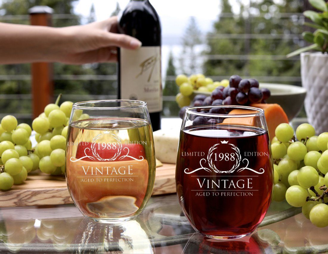 1988 30th birthday gifts for women and men wine glass