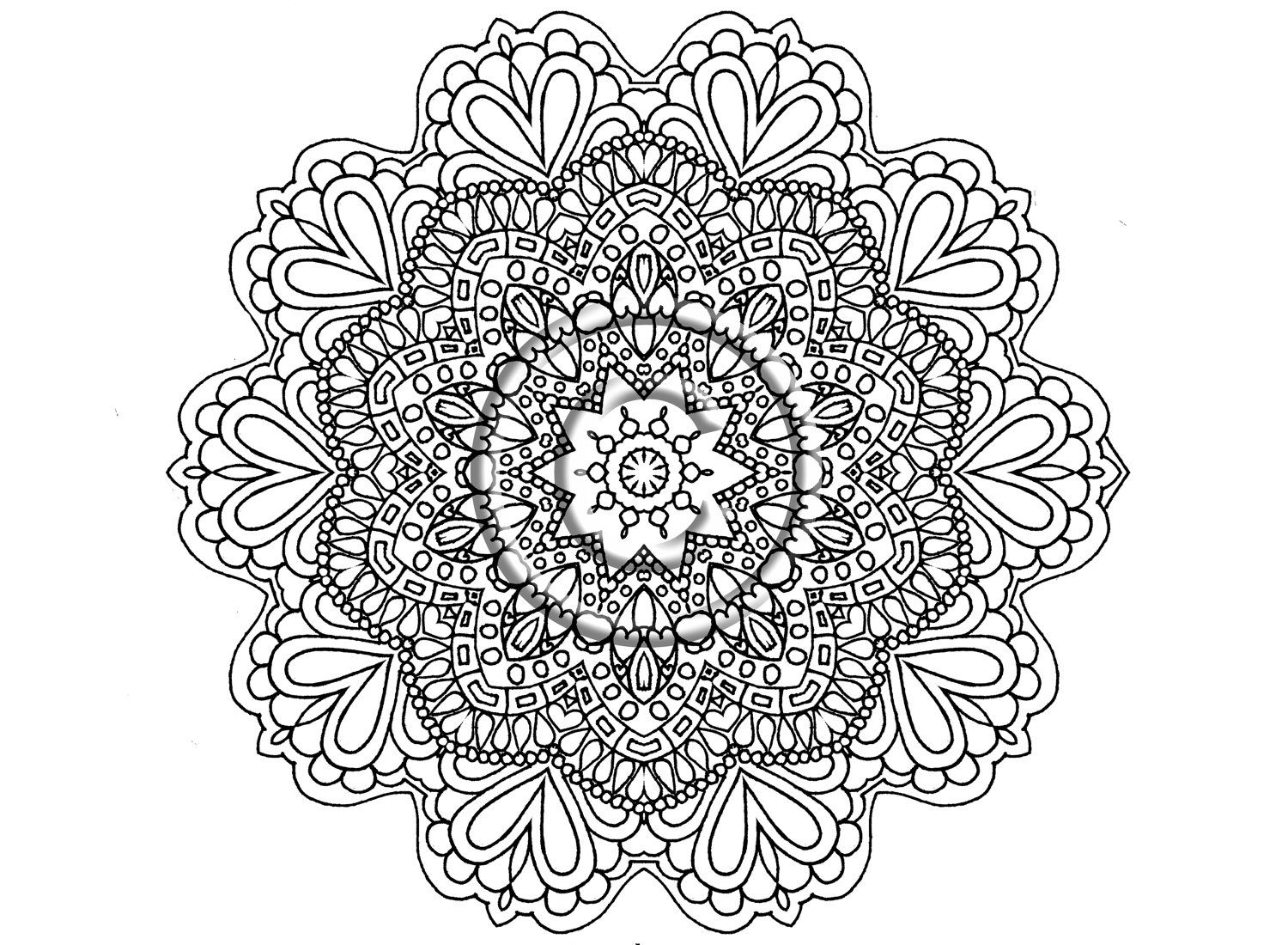shelly beauchamp zen tangles coloring pages | Digital Download Coloring Page Hand Drawn Zentangle ...