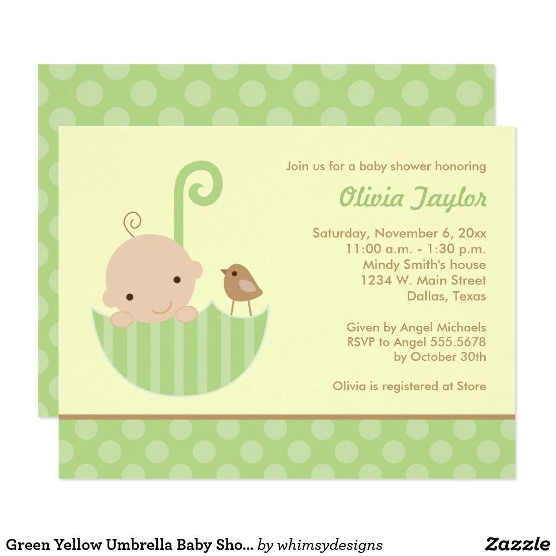 Green Yellow Umbrella Baby Shower Invitations   Umbrella baby ...