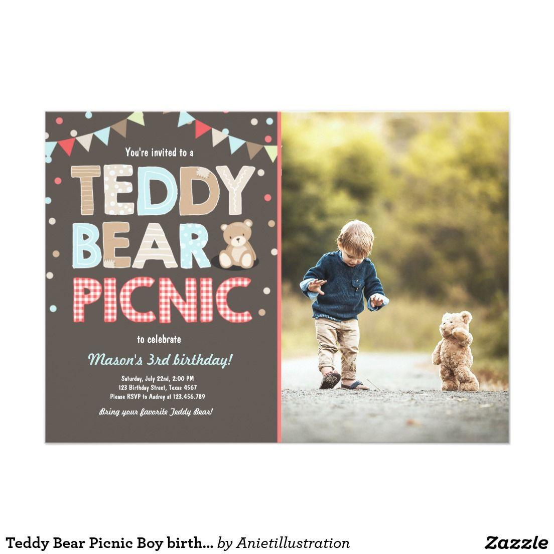 Teddy Bear Picnic Boy birthday Invitation Blue   1st Birthday Party ...