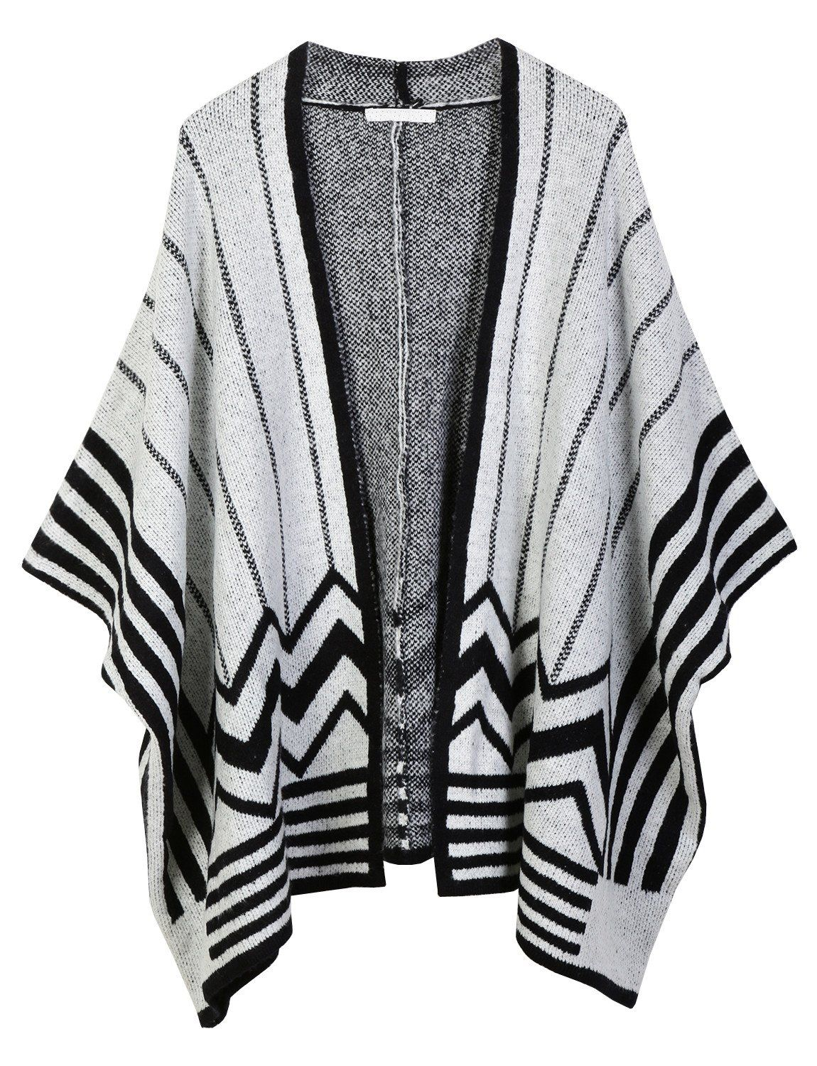 4c3465b68f2 LE3NO Womens Midweight Zig Zag Striped Open Front Knit Poncho Cardigan  (CLEARANCE)