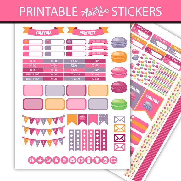 Printable Macarons Kit Stickers, Weekly Kit for use with Erin Condren…