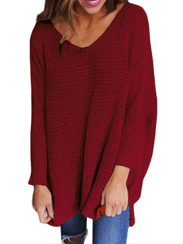 597af81ea04 US$31.16 53% Plus Size Loose V-neck Long Sleeve Pure Color Knit ...