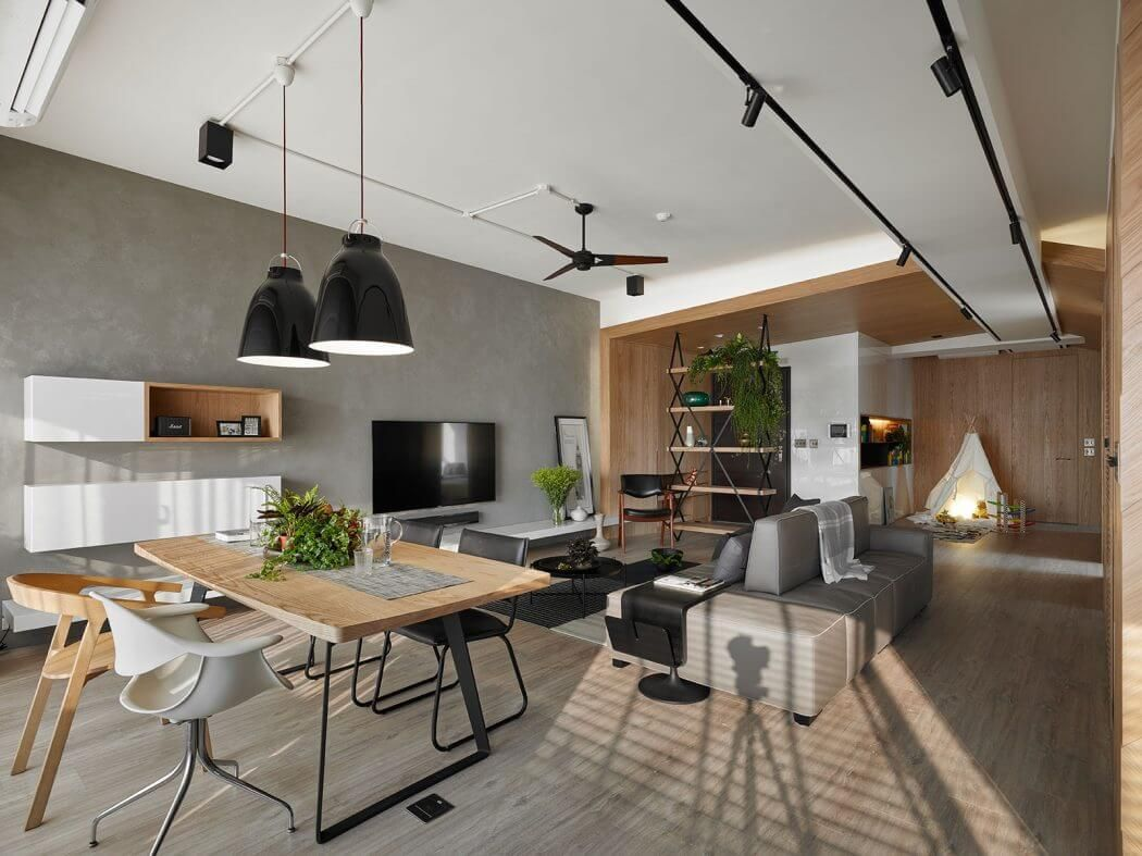 Apartamento Em Taiwan Industrial Living Rooms And Architecture -> Parede Da Sala Com Piso