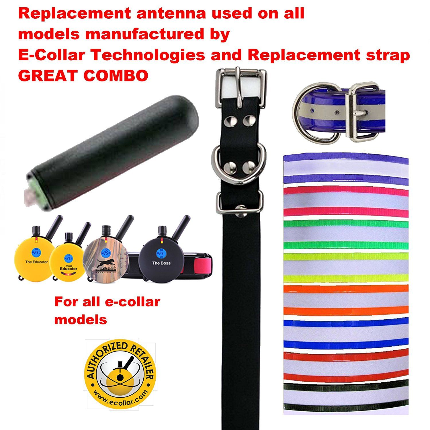 Educator E Collar Replacement Reflective Black Strap And Antenna Bundle Your Choice Of Color Want Additi Dog Training Tools Replacement Straps Dog Items