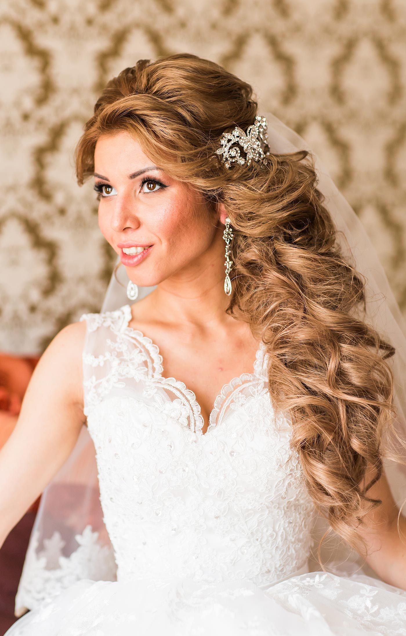 Brautfrisuren lange Haare halb offen