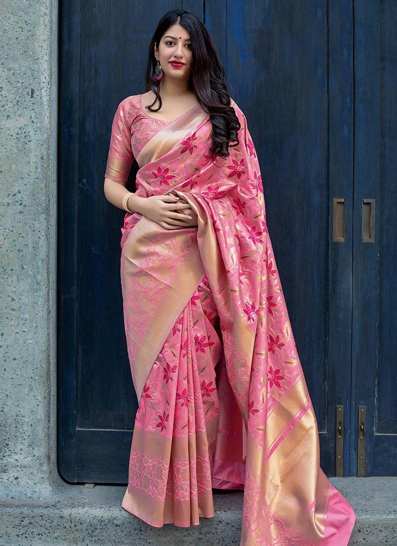 5489048896 Pink Woven Banarasi Silk Blend Saree With Blouse, Designer Border And  Designer Pallu. #sarees #banarasisilksarees #indiansareesonline  #puresilksarees ...