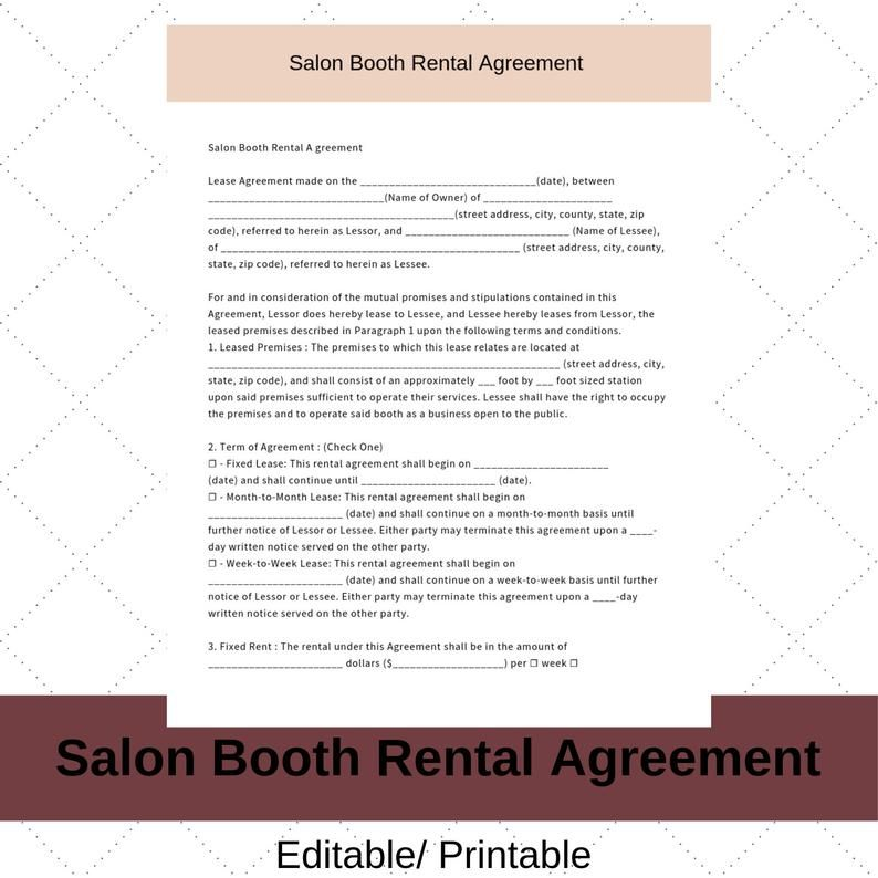Hair Stylist Booth Rental Agreement/Contract Instant