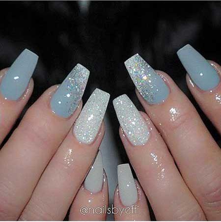 Blue And Grey Nails