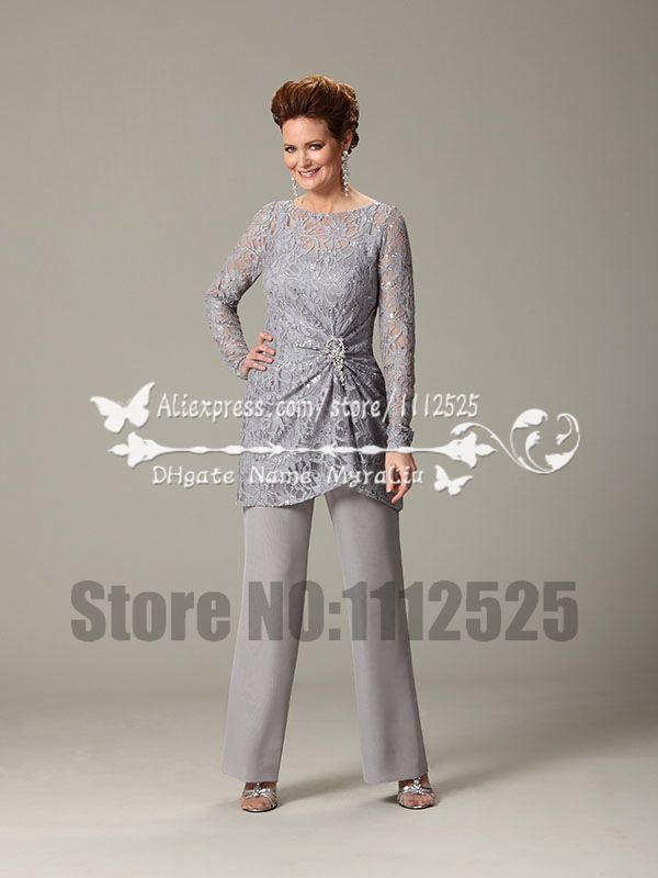 1164336fce66e Gray Lace And Chiffon Two piece mother of the bride pant suits Plus ...