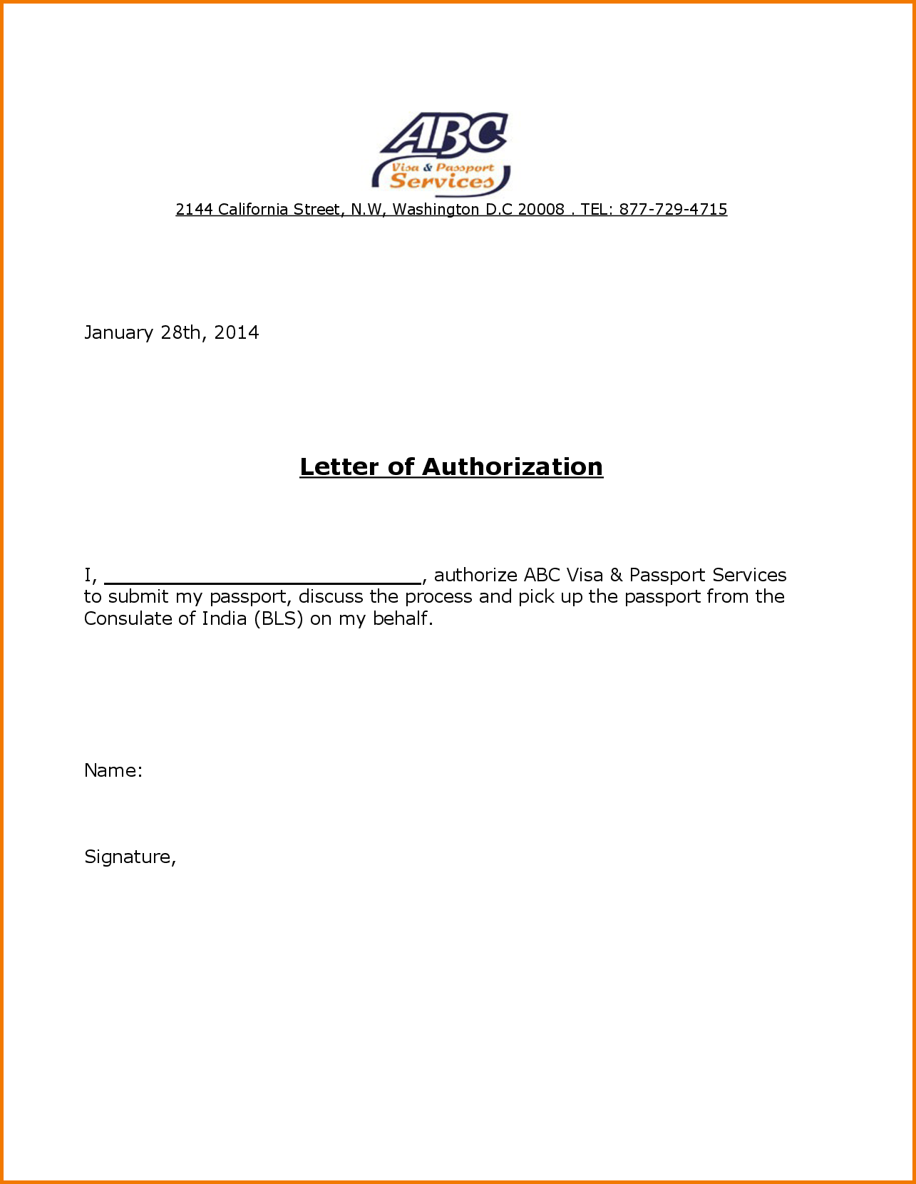 Authorization Letter For Passport Pickup Pdf How Write
