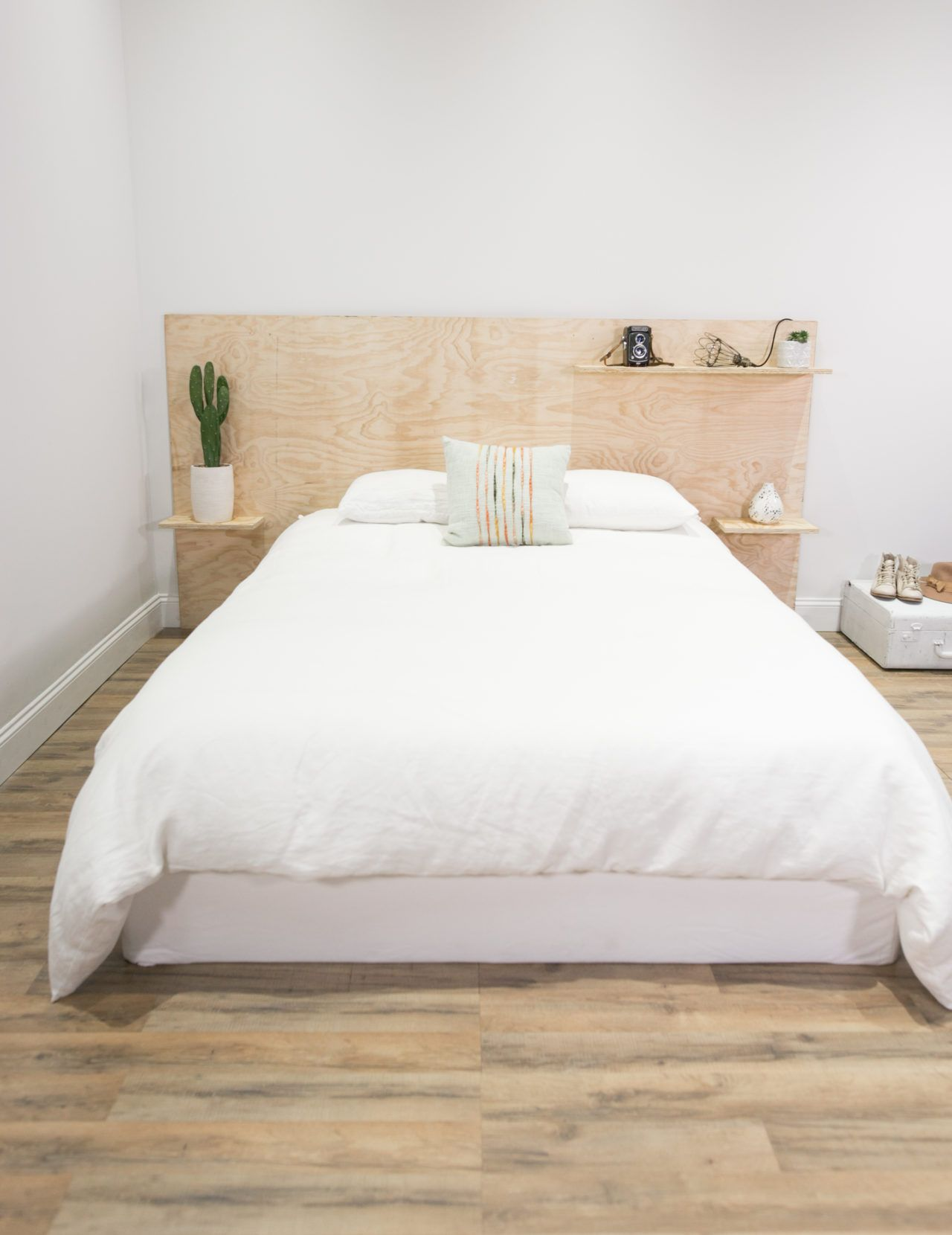 Diy Minimalist Plywood Shelf Headboard Bedroom Design Trends