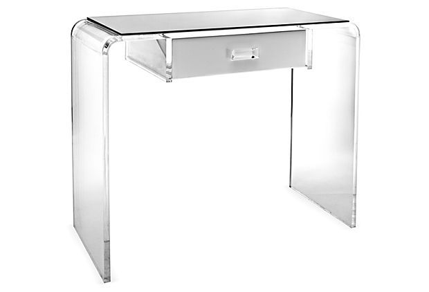 Wonderful Small Vanity For My Dressing Nook? Waterfall Vanity Table, White/Clear On  OneKingsLane