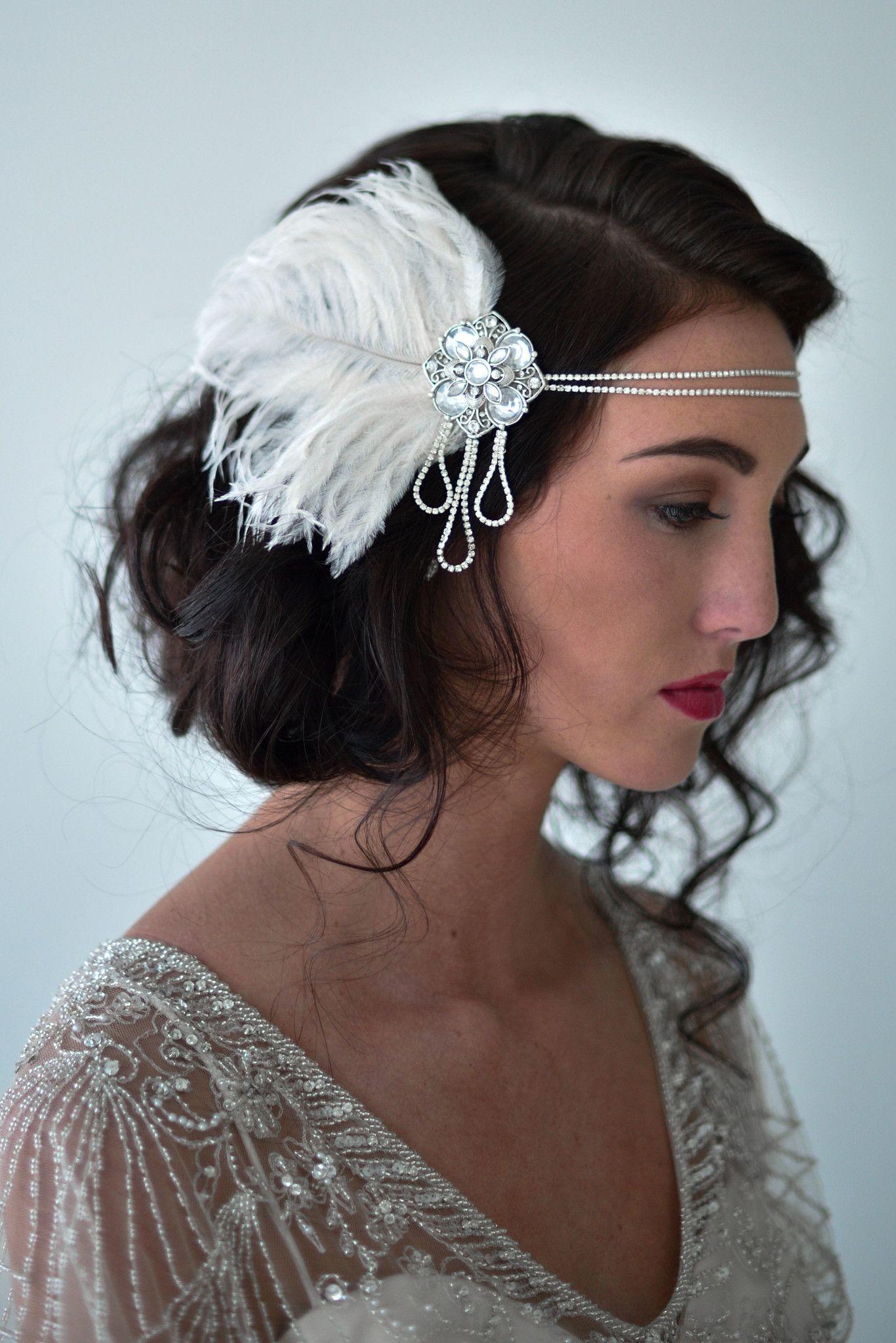 Art nouveau flapper headband in silver style s style