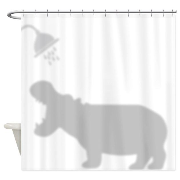 Funny Hippo Shadow Silhouette Shower Curtain By