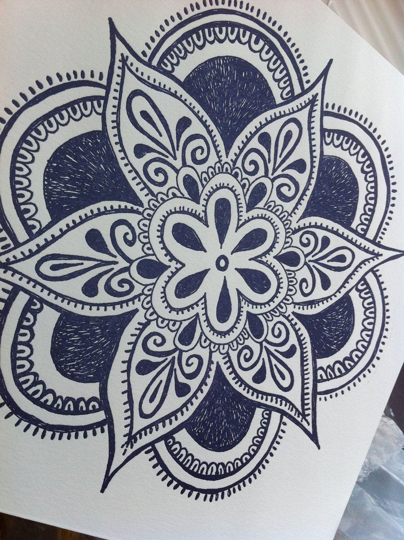 Mandala Henna Designs: Large Mandala Letterpress Print One Of A Kind By