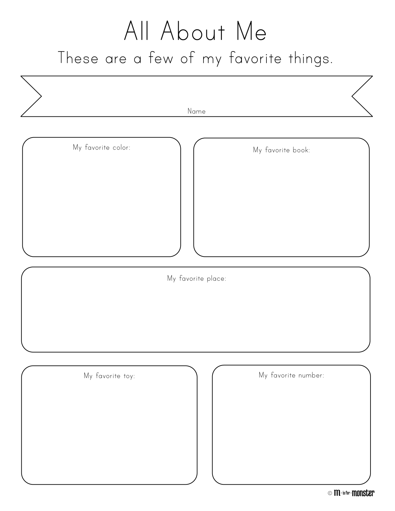 worksheet Free Printable All About Me Worksheet favorite things toddler and preschool all about me week free printable from m is for monster