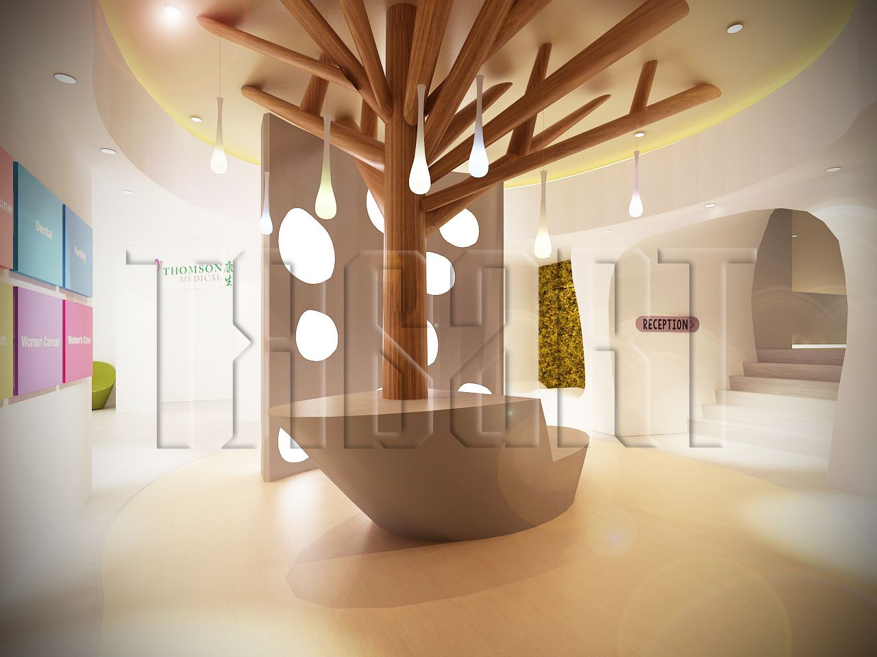 Reception a maternity hospital with a whimsical interior for Interior design process
