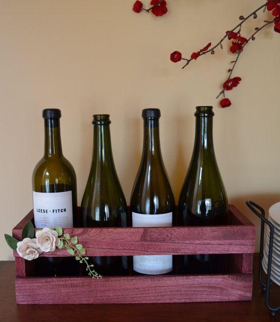 Crate Inspired 4 Bottle Wine Rack by FrenchlaundryDecor on Etsy, $18.00