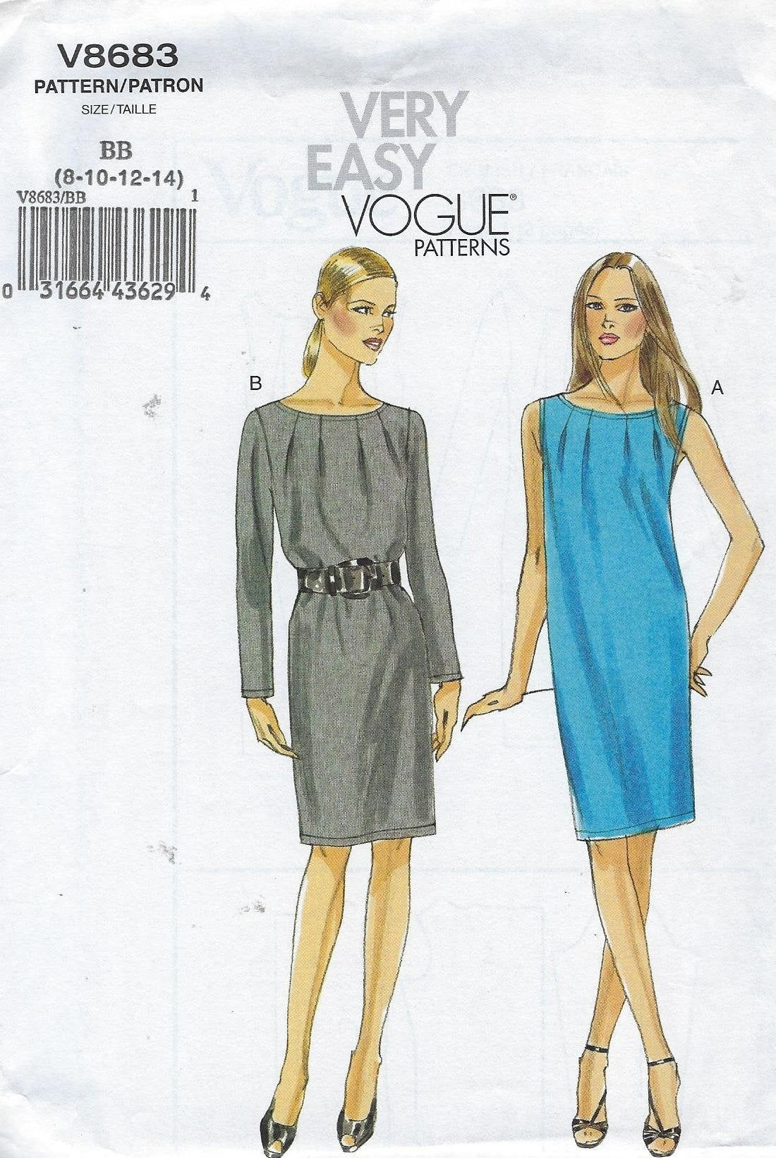 Vogue Sewing Pattern Dress Semi Fitted Sleeveless Or Long Sleeve