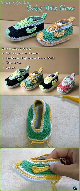 Crochet Baby Nike Sneakers Free Pattern Video - Crochet Sneaker ...
