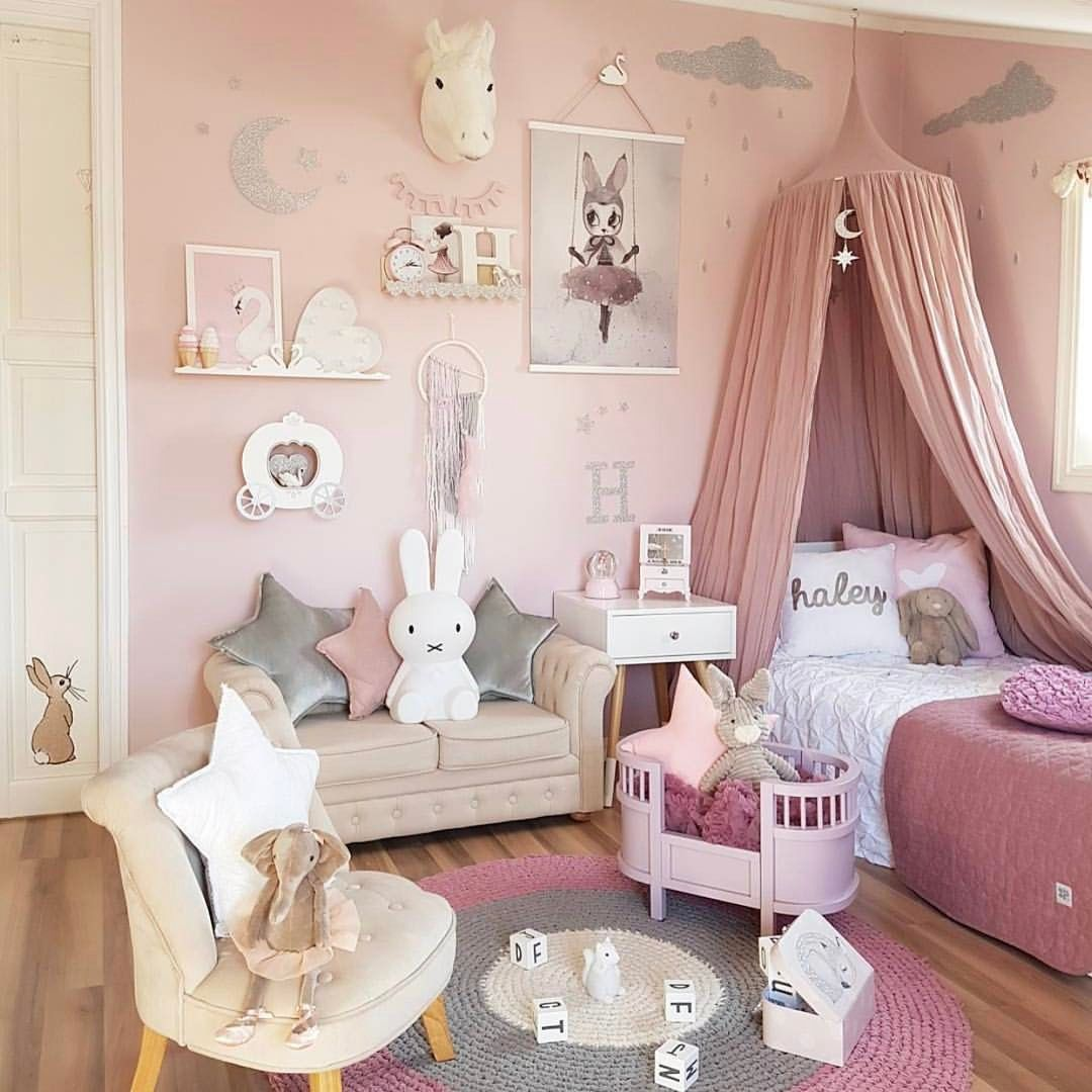 12 Fun Girl S Bedroom Decor Ideas Cute Room Decorating In Pink For Girls Uniquebedding Pink Girl Room Toddler Bedrooms Toddler Bedroom Girl