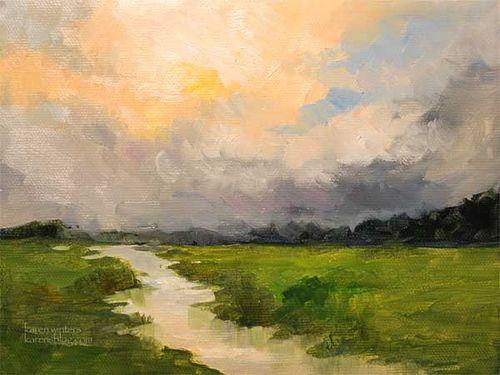 Peaceful Stream Impressionist Landscape Oil Painting Karen Winters Impressionist Art Oil Painting Landscape Landscape Paintings