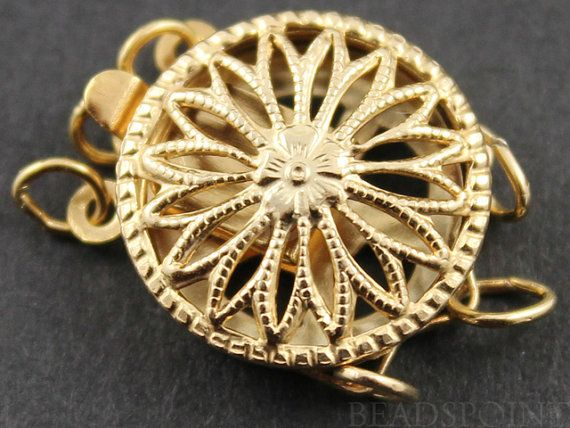Gold Filled Round Filigree Clasp with 3 Ring,1 Piece, Sold INDIVIDUALLY, Just buy as many you need,(GF/408/3)