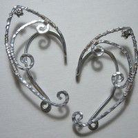 Pair of Elegant and Simple Elf Ear Cuffs with Flower Accents, Renaissance, Elven, Hobbit, Elf, Fantasy Ear Wraps