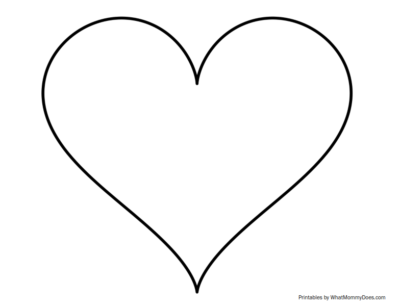 Super sized heart outline extra large printable template for Small heart template to print