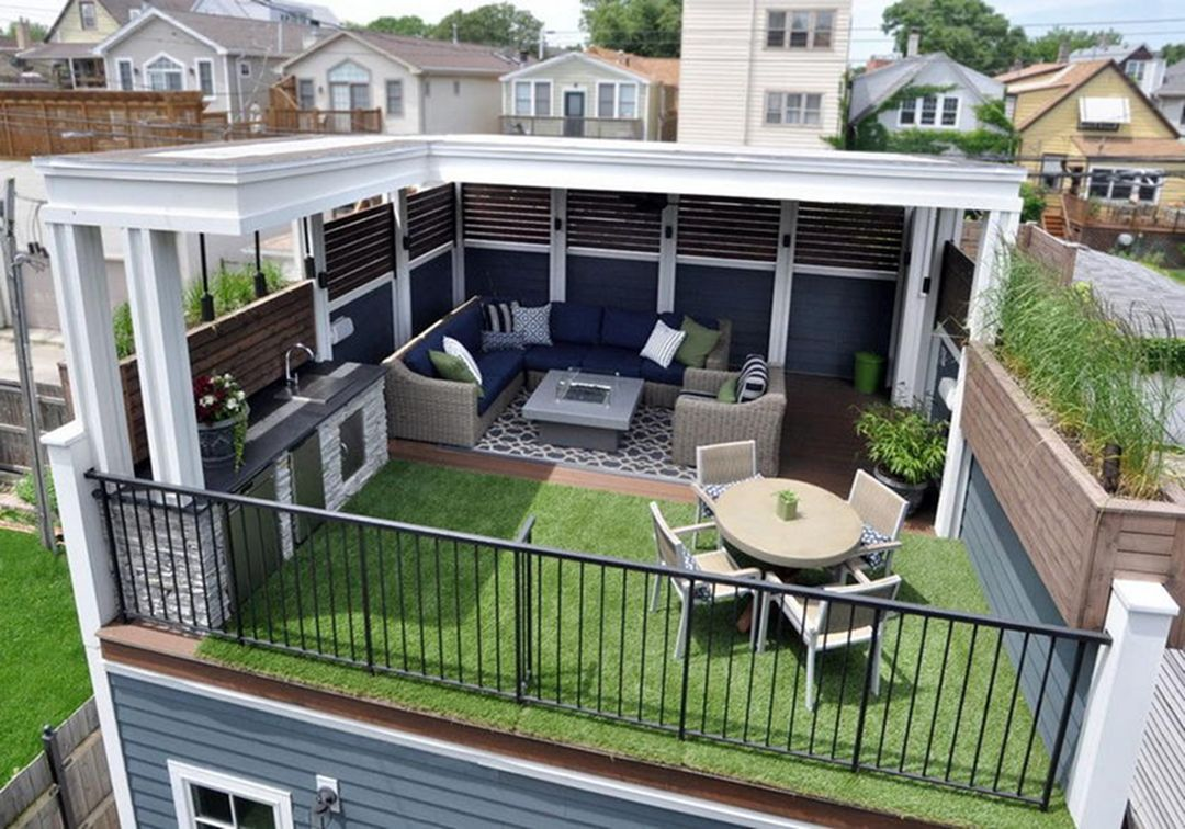35 Incredible Rooftop Patio Designs With Fire Pit Ideas