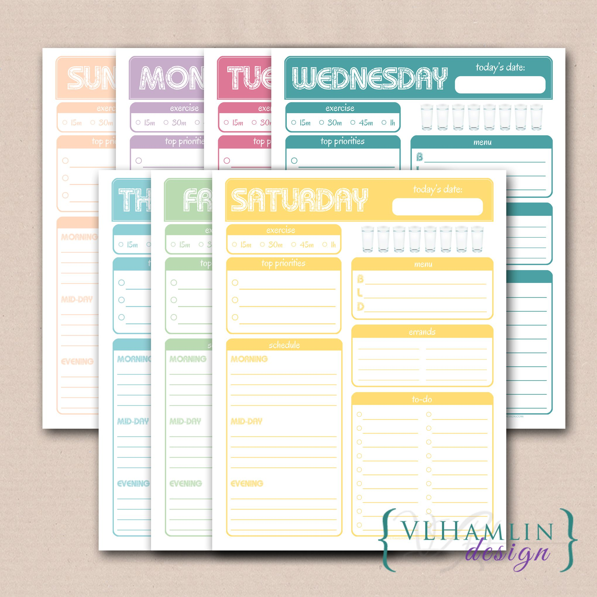 printable daily planner sweet treats this sweet daily planner set offers a different color printable planner page for each day of the week