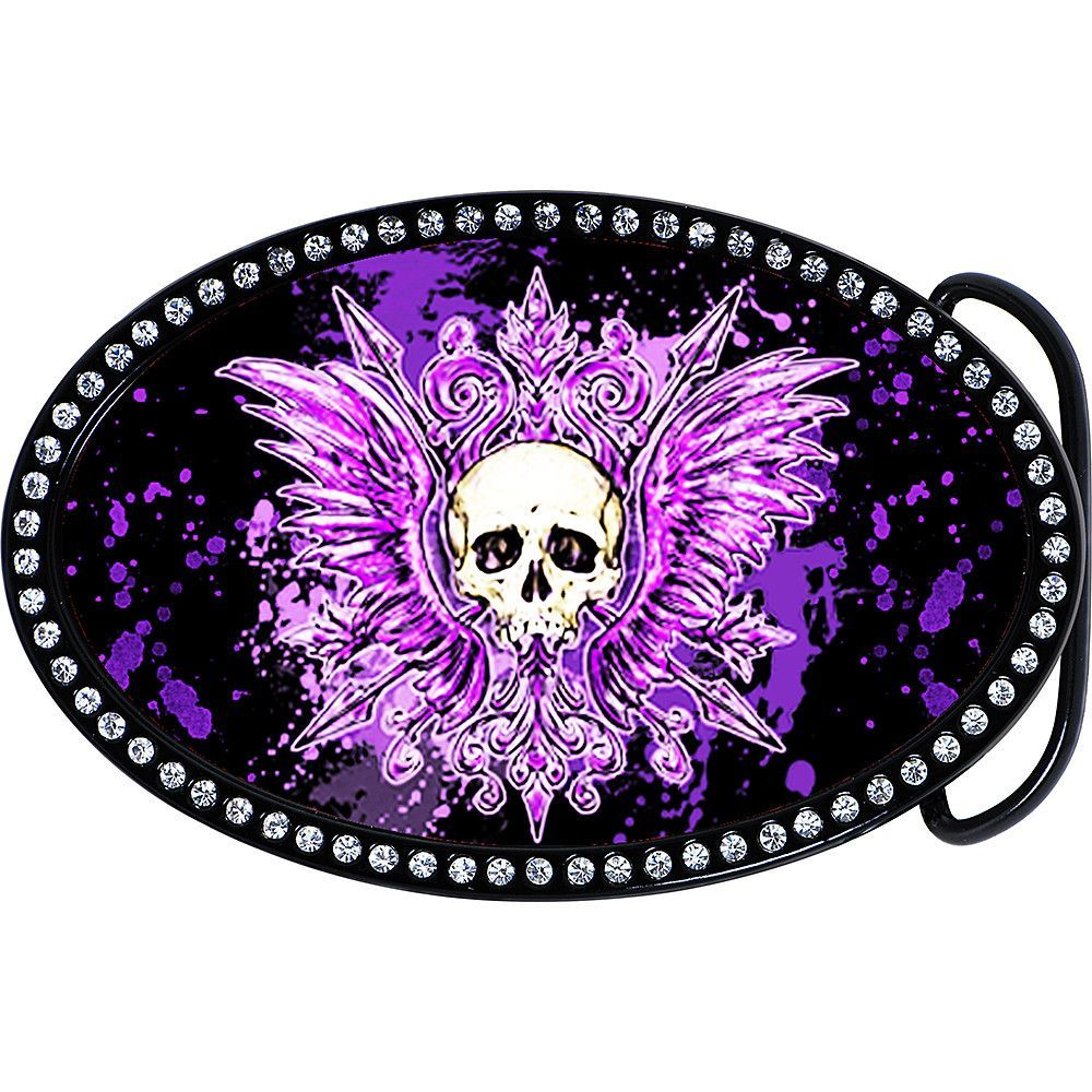 Austrian Crystal Powerful Purple Tribal Skull Belt Buckle