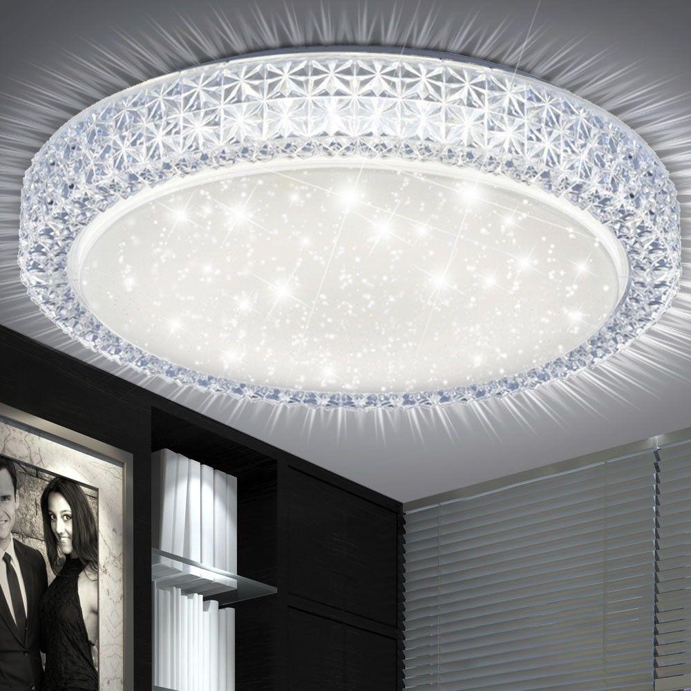 Details Zu Led 22 Watt Decken Leuchte Rund Wohn Zimmer Kristalle Sternen Himmel Beleuchtung With Images Ceiling Design Modern Luxury Interior Design Ceiling Design