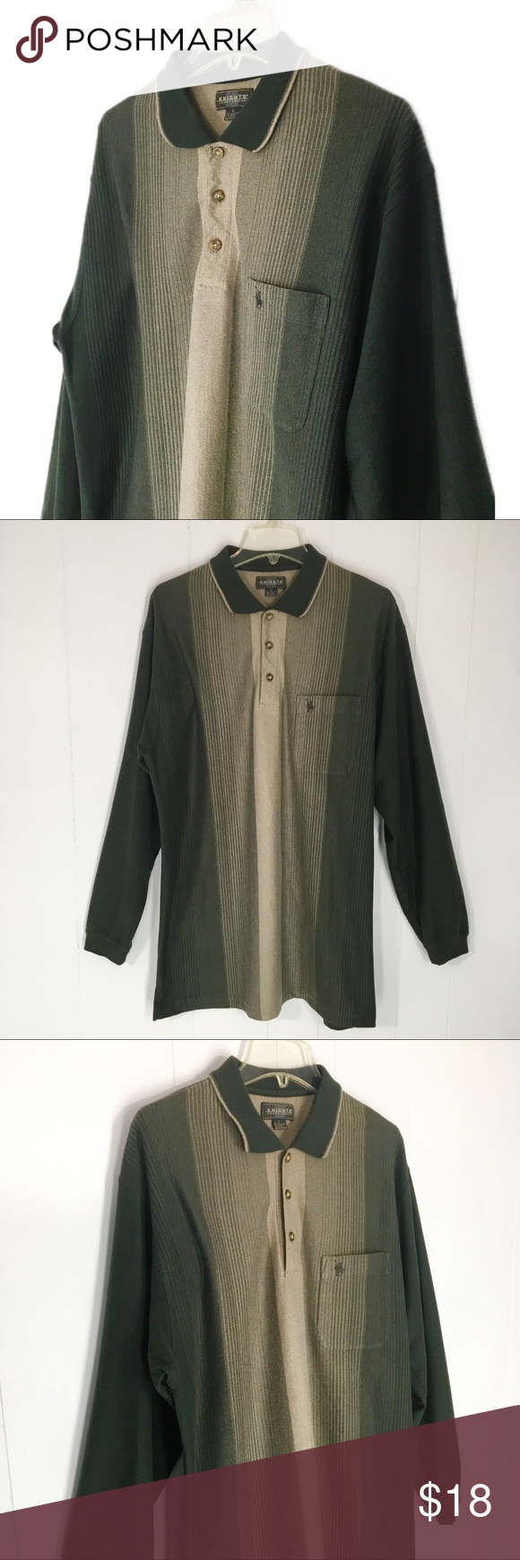 c836d4be VTG Knights Sportswear Polo Green Tan Men's Shirt vintage 80's / 90's Men's olive  green and