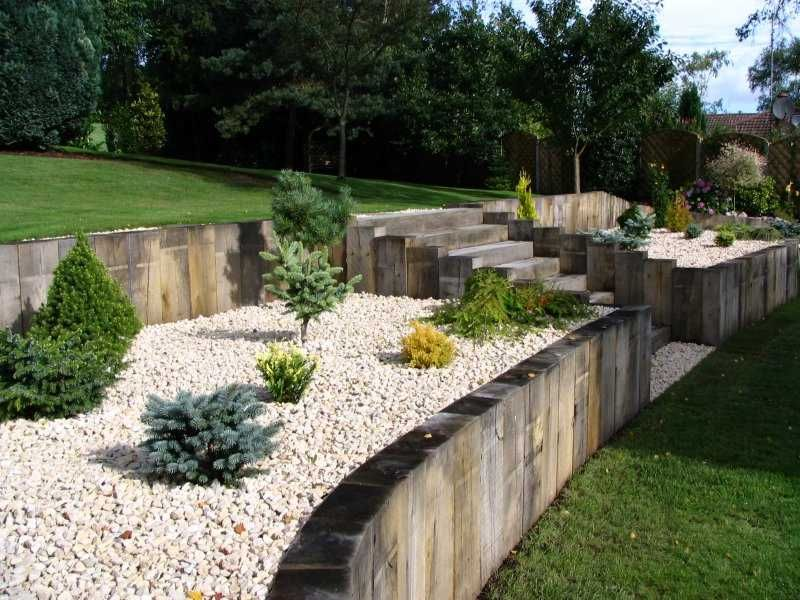 Daniel nicola 39 s landscaping with new oak railway for Sloping garden design ideas