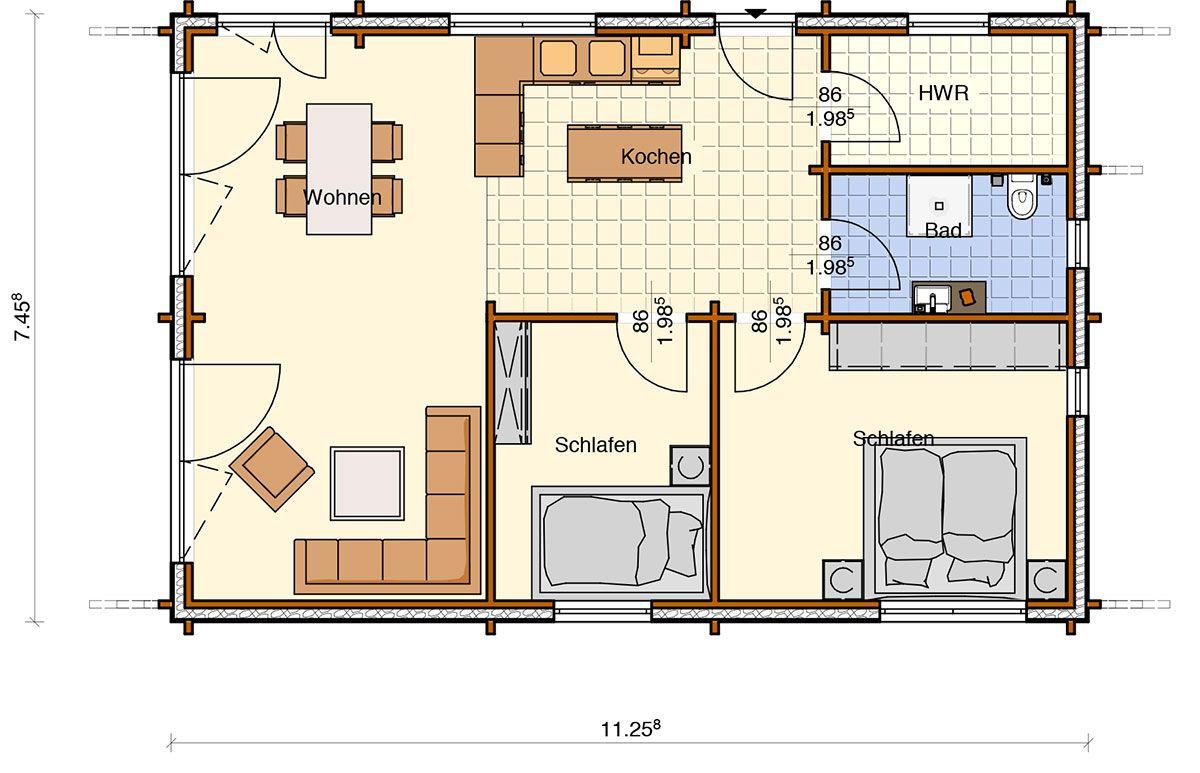 72,54 qm Nordic haus, Haus, Blockhaus häuser