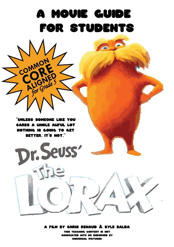 The Lorax Movie Guide Questions Worksheet Pg 2012